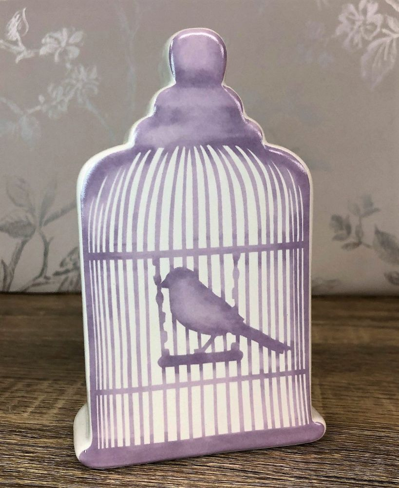 Cream Glazed Ceramic Birdcage Money Box - Lilac